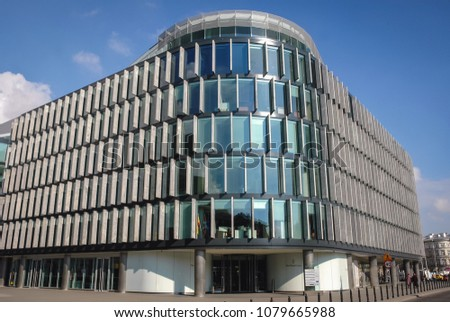 norman foster office. Warsaw, Poland - April 2, 2006: Metropolitan Office Building Designed By Sir Norman Foster U