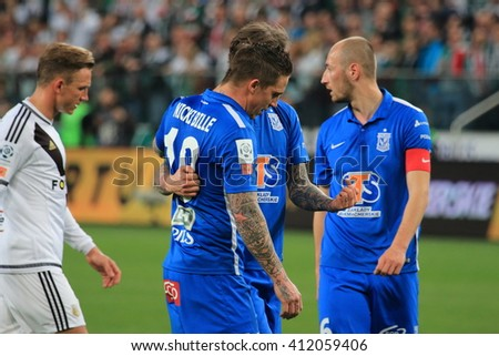 WARSAW, POLAND - APRIL 15, 2016: Polish league football match between Legia Warszawa and Lech Poznan in Warsaw. Final results 1:0 - stock photo