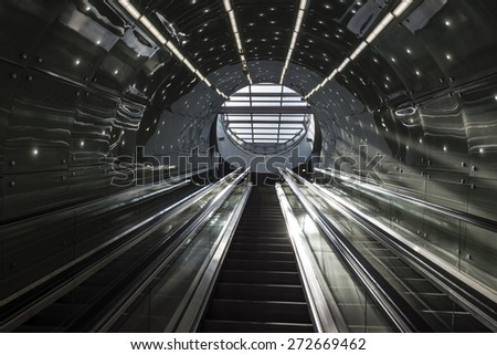 WARSAW, POLAND - APRIL 24, 2015: Second line of  Warsaw Subway system was opened in March 2015. This section is 6.3 km long and include a tunnel under the Vistula river. - stock photo