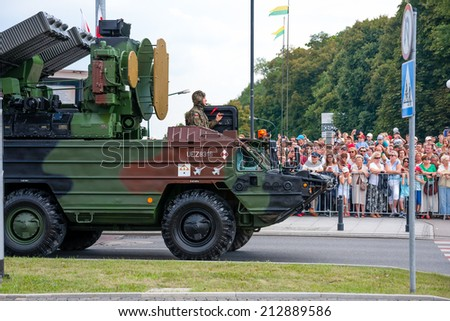 WARSAW, POLAND - AUGUST 15, 2014: Air defense missile system 9K33 Osa, Gecko. Polish Armed Forces Day. 1200 Polish and over 90 foreign soldiers, over 120 military vehicles, more than 50 aircraft