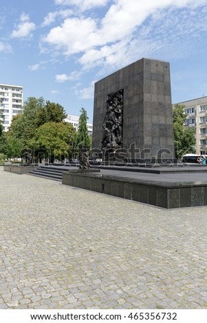 WARSAW, POLAND - AUGUST 05, 2016: Ghetto Heroes Monument that commemorates the heroes who fought against the Nazis during the uprising in 1943 and is next to the Museum of the History of Polish Jews