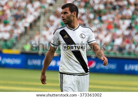 WARSAW, POLAND - AUGUST 09, 2015: Nemanja Nikolic (Legia Warsaw and Hungarian national team striker) during Polish League football match between Legia Warsaw and Wisla Cracow in Warsaw.