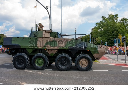 WARSAW, POLAND - AUGUST 15, 2014: Rosomak - Wheeled Armored Vehicle. Polish Armed Forces Day. Over 1200 Polish and over 90 foreign soldiers, over 120 military vehicles, more than 50 of aircraft - stock photo