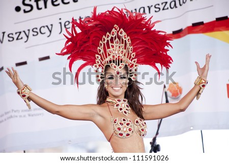 WARSAW, POLAND, AUGUST 26: Unidentified Carnival dancer on the stage on Warsaw Multicultural Street Parade on August 26, 2012 in Warsaw, Poland. - stock photo