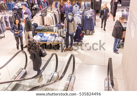 WARSAW, POLAND -DECEMBER 10, 2016: Big shopping center in Warsaw city inside before Christmas