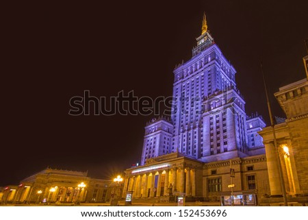 Warsaw, Poland downtown skyline at night. The Palace of Culture and Science -Palac Kultury i Nauki