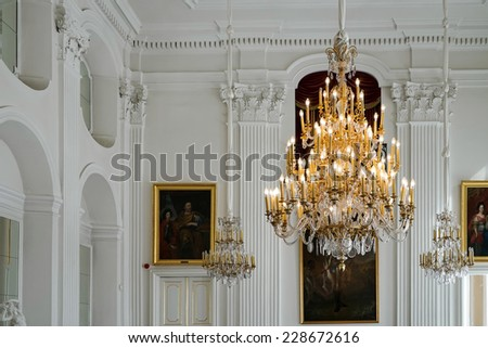 WARSAW, POLAND/EUROPE - SEPTEMBER 17 : Chandelier at the Wilanow Palace in Warsaw Poland on September 17, 2014