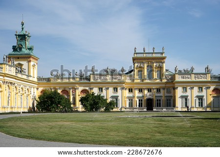 WARSAW, POLAND/EUROPE - SEPTEMBER 17 : Wilanow Palace in Warsaw Poland on September 17, 2014. Unidentified people.