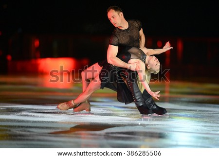 WARSAW, POLAND - FEBRUARY 27, 2016:Kings on Ice figure skating jump show made by Evgeni Plushenko and life music by Edvin Marton Emmy award winner n/z Evgeni Plushenko