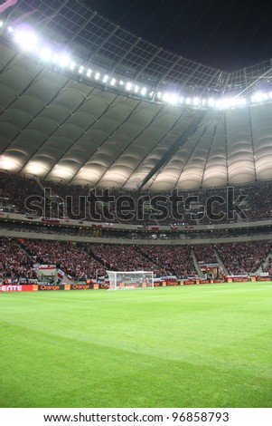 WARSAW, POLAND - FEBRUARY 29: National Stadium in Warsaw, full stands before the friendly football match between Poland vs Portugal on February 29, 2012 in Warsaw, Poland. Final results: 0:0 - stock photo