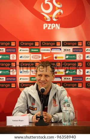 WARSAW, POLAND - FEBRUARY 28: Poland national football team manager, Tomasz Rzasa attends a press conference before friendly match of Poland vs. Portugal on February 28, 2012 in Warsaw, Poland.