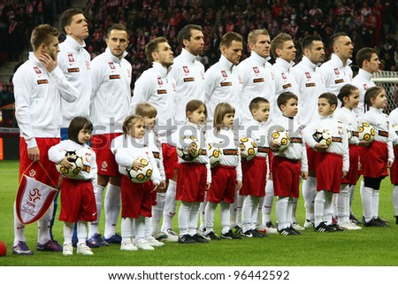 WARSAW, POLAND - FEBRUARY 29: Poland national football team players before friendly game against Portugal on February 29, 2012 in Warsaw, Poland. Final results, Poland-Portugal 0:0 - stock photo