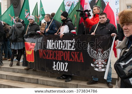 WARSAW, POLAND - FEBRUARY 06, 2016: Unidentified people during demonstration against refugees in Warsaw, Poland. - stock photo