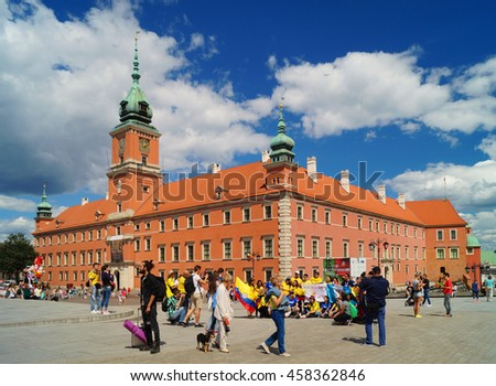 WARSAW, POLAND, 20,JULY 2016 ;Old Town, the historic Castle Square, Royal Castle.World Youth Day in Warsaw