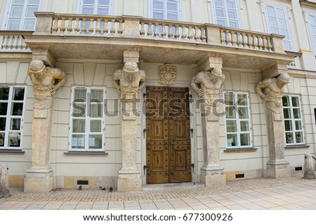 WARSAW, POLAND - JULY 8, 2017: Potocki Palace is a large baroque palace in Warsaw located at Krakowskie Przedmiescie street