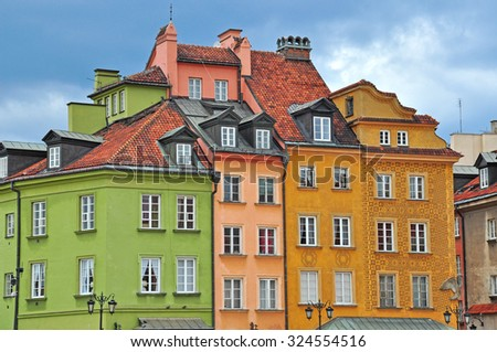WARSAW, POLAND - JUNE 13: View of the houses in Warsaw city centre on June 13, 2014. Warsaw is a capital and largest city of Poland.