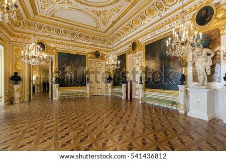 WARSAW, POLAND - MARCH 10, 2013: Interior of Warsaw Palace. The palace is a landmark monument and is a UNESCO World Heritage site in Poland.