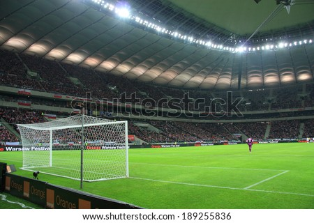 WARSAW, POLAND - MARCH 5: National Stadium in Warsaw before the friendly football match between Poland and Scotland on March 5, 2014 in Warsaw, Poland. Final result: 0:1 - stock photo
