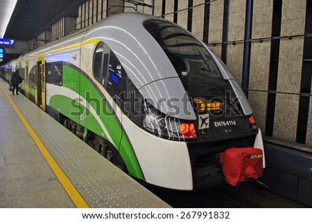 WARSAW, POLAND, 26 MARCH 2015 - Train at the platform from Warsaw Central Station, Poland. - stock photo