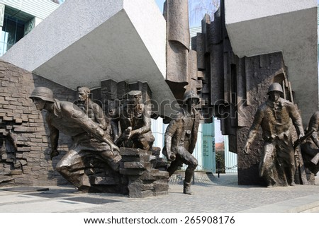 WARSAW, POLAND - MARCH 25, 2015: Warsaw Uprising Monument is dedicated to the Warsaw Uprising of 1944 and is the most important monument of post-war Warsaw. - stock photo