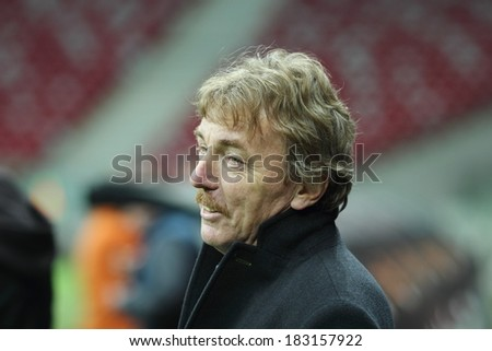 WARSAW, POLAND - MARCH 4: Zbigniew Boniek chairman of the Polish Football Association before a press conference before friendly match of Poland vs. Scotland on March 5, 2014 in Warsaw, Poland.