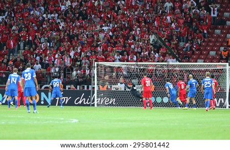 WARSAW, POLAND - MAY 27, 2015: FC Dnipro players score a goal during the UEFA Europa League Final game against FC Sevilla at Warsaw National Stadium - stock photo