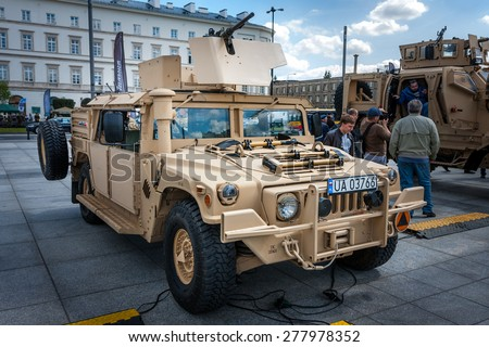 WARSAW, POLAND - MAY 08, 2015: Humvee HMMWV m1165 expanded capacity general purpose vehicle. 70th anniversary of end of World War II, public celebrations - stock photo
