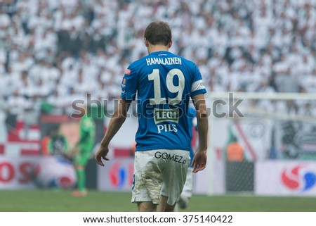 WARSAW, POLAND - MAY 02, 2015: Kasper Hamalainen, Lech Poznan midfielder during Polish Cup final football match between Legia Warsaw and Lech Poznan in Warsaw. - stock photo
