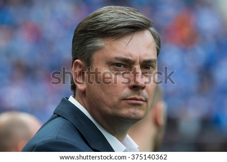 WARSAW, POLAND - MAY 02, 2015: Maciej Skorza, Lech Poznan manager during Polish Cup final football match between Legia Warsaw and Lech Poznan in Warsaw.