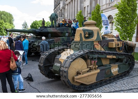 WARSAW, POLAND - MAY 08, 2015: Renault FT 17 light tank, used mostly during the World War I.  Public celebrations of 70th Anniversary of End of WW II - stock photo