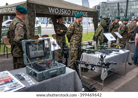 WARSAW, POLAND - MAY 08, 2015: Robot TALON reconnaissance / combat vehicle, control board. 70th anniversary of End of WW II