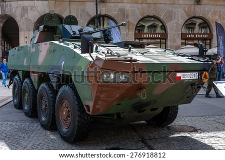 WARSAW, POLAND - MAY 08, 2015: Rosomak - Infantry fighting vehicle. 70th Anniversary of End of World War II - stock photo