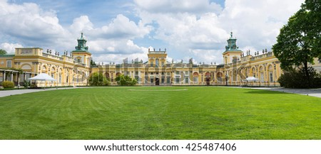 WARSAW, POLAND - MAY 17: Royal Wilanow Palace or Wilanowski Palace with park in Warsaw, Poland on May 17, 2016
