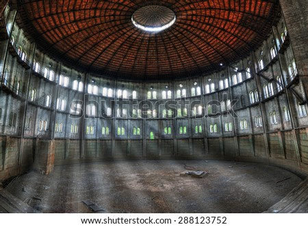 Warsaw, Poland May 9, 2015 Ruins of the destroyed and abandoned the old gasworks - stock photo