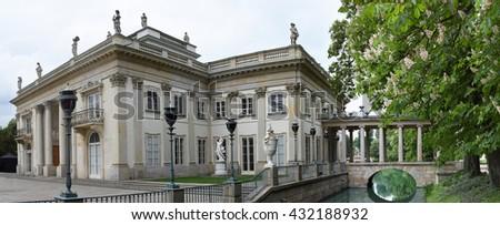 WARSAW, POLAND - MAY 16, 2016: The Lazienki palace in Lazienki Park, on May 16, 2016, Warsaw, Poland - stock photo