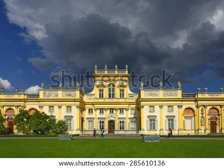 WARSAW, POLAND - MAY 30, 2015: The royal Wilanow Palace in Warsaw. Wilanow Palace or Wilanowski Palace is one of Poland's most important monuments.