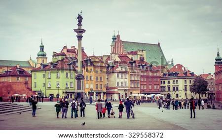 Warsaw, Poland - november 11, 2014: Castle Square  in Warsaw, Poland - stock photo