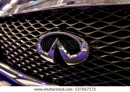 WARSAW, POLAND - NOVEMBER 21, 2016: Infinity logo close up. Infinity is Japanese automobile manufacturer. It is Mazda brand which is used for luxury automobiles.