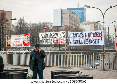 WARSAW, POLAND - NOVEMBER 11: Protests and posters against politics during Polish Independence day in Warsaw in November 11, 2014 - stock photo