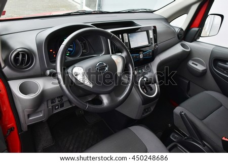 Warsaw, Poland - November 19th, 2014: Nissan e-NV200 stopped on the street. - stock photo