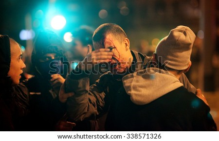 WARSAW, POLAND - NOVEMBER 11, 2014 : The riots in the streets of Warsaw during the celebration of Independence Day on November 11, 2014 in Warsaw, Poland. - stock photo