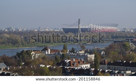 WARSAW, POLAND - OCT 30: Warsaw National Stadium on a sunny day on October 30, 2013. The National Stadium hosted the opening match of the UEFA Euro 2012.  - stock photo