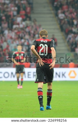 WARSAW, POLAND - OCTOBER 11, 2014: Christoph Kramer in action (German team and Bundesliga club Borussia Monchengladbach player) during the UEFA EURO 2016 qualifying match of Poland vs. Germany - stock photo