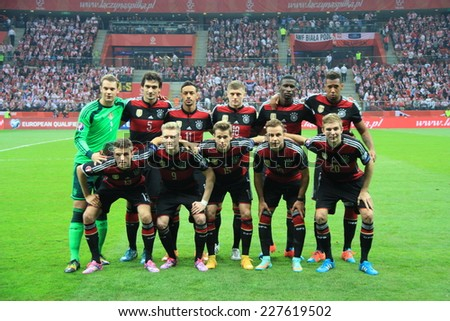 WARSAW, POLAND - OCTOBER 11, 2014: German national football team before the UEFA EURO 2016 qualifying match of Poland vs. Germany. Final results 2:0 - stock photo