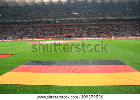 WARSAW, POLAND - OCTOBER 11, 2014: National Stadium in Warsaw before the UEFA EURO 2016 qualifying match of Poland vs. Germany.  - stock photo