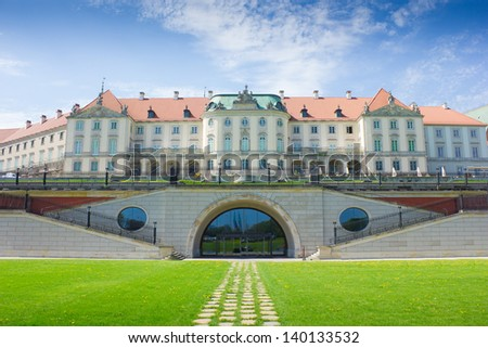 Warsaw, Poland. Old Town - famous Royal Castle. UNESCO World Heritage Site. - stock photo