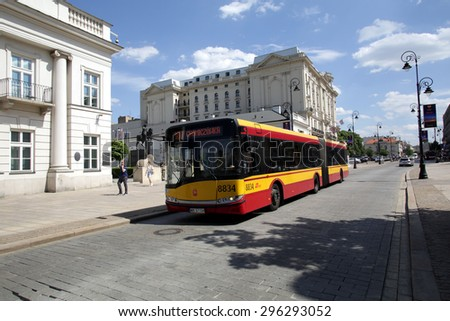 WARSAW, POLAND - SATURDAY, JUNE 6, 2015: A bus in Warsaw, owned and operated by ZTM.   - stock photo