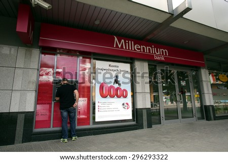 WARSAW, POLAND - SATURDAY, JUNE 6, 2015: An exterior view of Bank Millennium S.A.  - stock photo