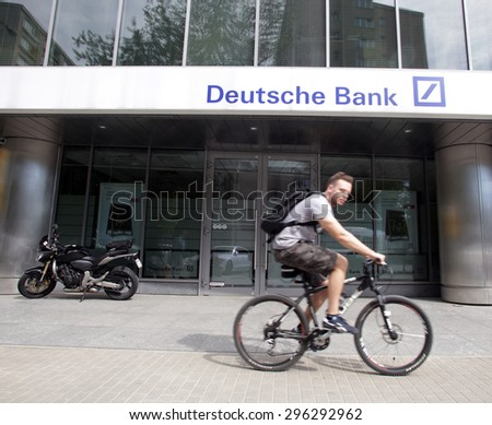 WARSAW, POLAND - SATURDAY, JUNE 6, 2015: An exterior view of Deutsche Bank Polska S A. in Warsaw   - stock photo