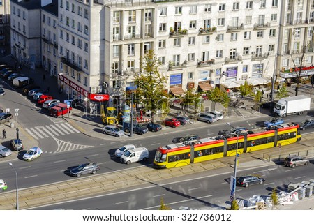 WARSAW, POLAND - SEPTEMBER 30, 2015: Aerial view to Marszalkowska Street, seen as a main street of the downtown, in 1770 its name was officially considered  - stock photo